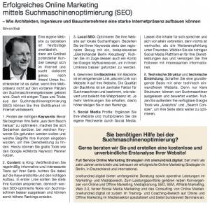 Erfolgreiches Online Marketing mittels Suchmaschinenoptimierung (SEO) BAukammer Berlin
