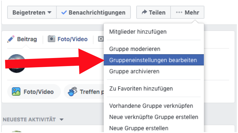 Gruppeneinstellungen in einer Facebookgruppe