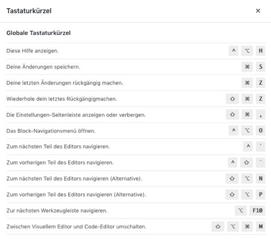 Gutenberg Editor Tastaturkürzel