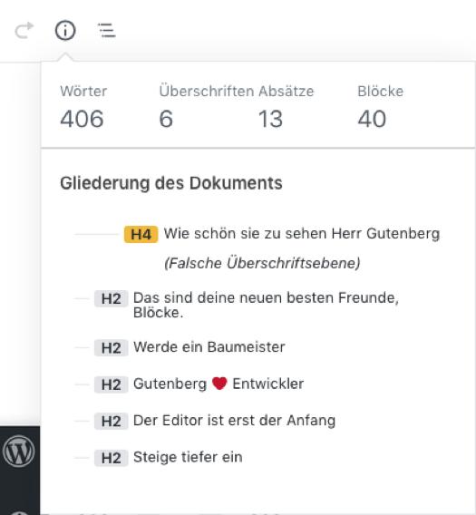 Gutenberg Editor Gliederung