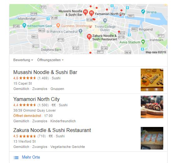 Google Suche Asiatisches Restauran