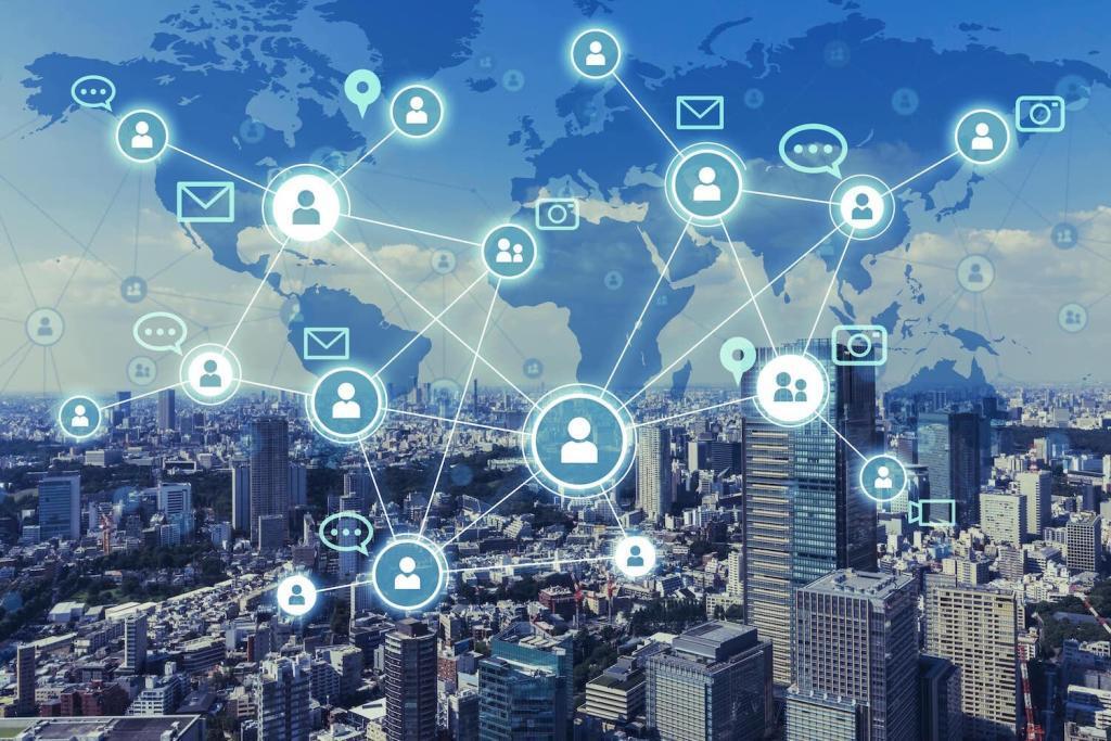 Darstellung einer digital vernetzten Stadt